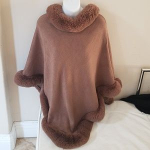Jackets & Blazers - Faux fur poncho